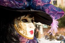 A Woman In Costume At The Venice Carnival Royalty Free Stock Images