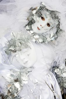 A Woman In Costume At The Venice Carnival Stock Image