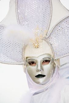 A Woman In Costume At The Venice Carnival Royalty Free Stock Image