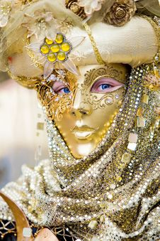 Free A Man In Costume At The Venice Carnival Stock Photography - 6566322