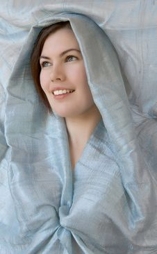 Girl With Blue Scarf Royalty Free Stock Photos
