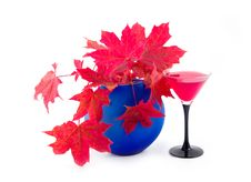 Free Vase With Maple Red Autumn Leaves Stock Photography - 6566672