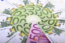 Close Up Of Many European Hundred Euros. Royalty Free Stock Image