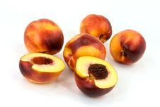 Fresh Nectarine On White Background Stock Photo