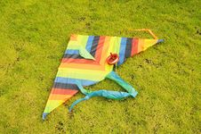 The Colorful Cloth Kite On   Meadow. Royalty Free Stock Image
