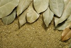 Dried Bay Leaves On Powder Background Royalty Free Stock Images