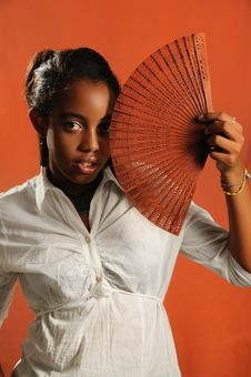 Free African Teen Girl With Fan Royalty Free Stock Image - 6569496