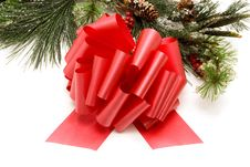 Red Ribbon Bow And Christmas Tree Stock Photos