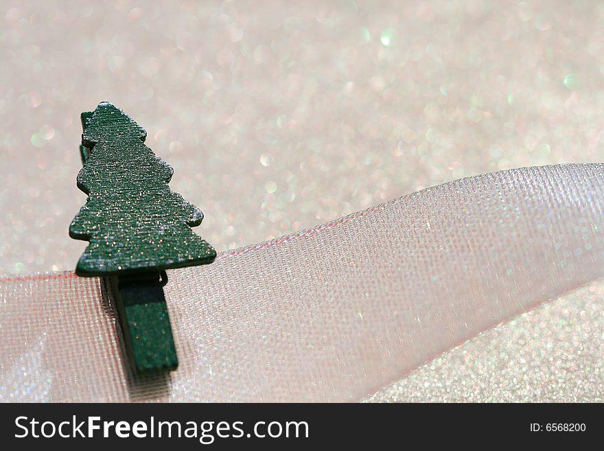 Christmas tree peg on ribbon