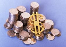Free Coins And Dollar Sign Stock Photography - 6570522