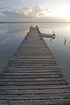 Boat Pier At Sunset Royalty Free Stock Images