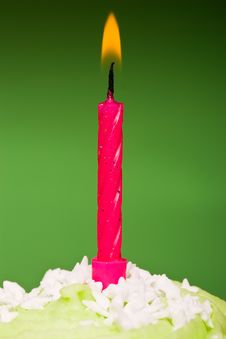 Free Small Green Cake With A Single Candle Royalty Free Stock Photos - 6570848