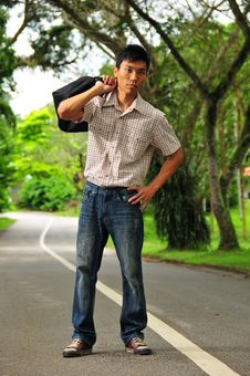 Asian Hitchhiker -10 Stock Image