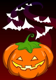 Pumpkin And Bats Stock Image