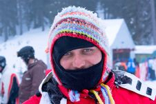 Free Masked Skier Man In Funny Hat Laughing Stock Photo - 6574130