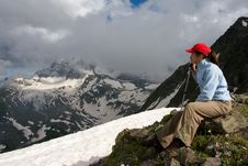 Hiker Girl In Hight Mountains Royalty Free Stock Photography