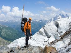 Free Mountain-climber In High Caucasus Mountains Stock Photography - 6575872