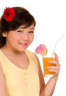 Free Girl With  Juice Stock Image - 6578241