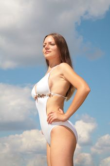 Free Girl In Bathing Suit Against Sky Stock Images - 6578314
