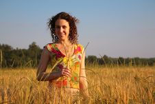 Free Young Woman With Earns Stands On Wheaten Field Stock Photography - 6578522