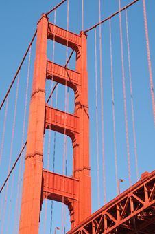 Golden Gate Bridge Tower Stock Photo