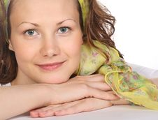 Beautiful Smiling Model With Green Scarf Stock Images