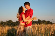 Free Romantic Pair Embraces On Wheaten Field Stock Images - 6578994
