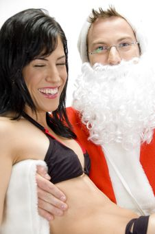 Free Sexy Lady With Santa Man Stock Image - 6579021