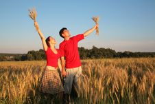 Free Pair In Field With Wheat In Hands Royalty Free Stock Photography - 6579027