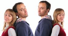 Pair, Standing Back To Back Royalty Free Stock Photo