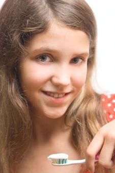 Free Beauty Teen Girl Clean Teeth Royalty Free Stock Photos - 6579538