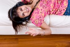 Young Woman Listening Music With Headphones Royalty Free Stock Photos