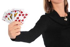 Woman Holds   Card In Hand Royalty Free Stock Photo