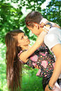 Free Girl Embraces Guy For Neck In Wood Royalty Free Stock Photography - 6581177