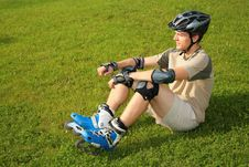 Free Roller Sits On Grass Stock Photos - 6580543