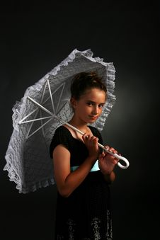 Free Pretty Young Girl With White Parasol Stock Image - 6580681