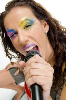 Free Woman Singing Into Microphone Stock Image - 6581081