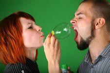 Free Girl Blows Soap Bubble Stock Photo - 6581370