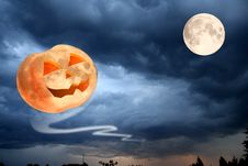 Flying Halloween Pumpkin Royalty Free Stock Image