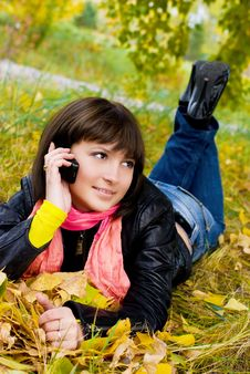 Pretty Girl Talking On The Cellphone Stock Image