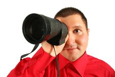 Free Businessman In Red Shirt Looks In  Spyglass Stock Photos - 6582563