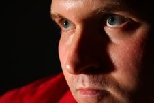 Thinking Man In Red Shirt In Dark Royalty Free Stock Photo