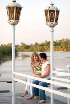 Pair On A Pier Royalty Free Stock Images