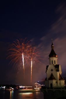 Firework And Church On River Stock Photography