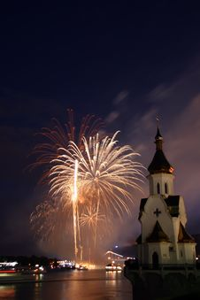 Firework And Church On River Stock Photos