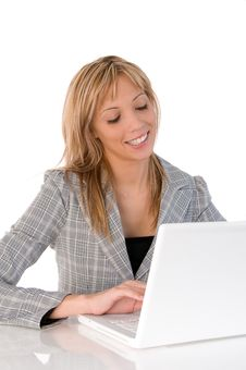 Businesswoman, Secretary Or Student With Laptop Royalty Free Stock Image