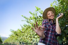 Free Young Peasant Woman Grape Sign Ok With Hand Royalty Free Stock Photo - 6585405