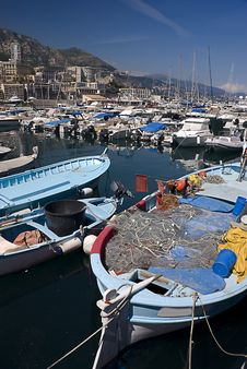 Fishing Boats In Monaco Royalty Free Stock Photography