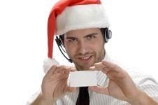 Free Santa Man Showing His Visiting Card Stock Images - 6588144