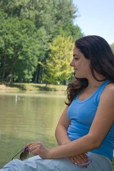 Free Pretty Girl Enjoying Summer Near A Lake Stock Photos - 6589203